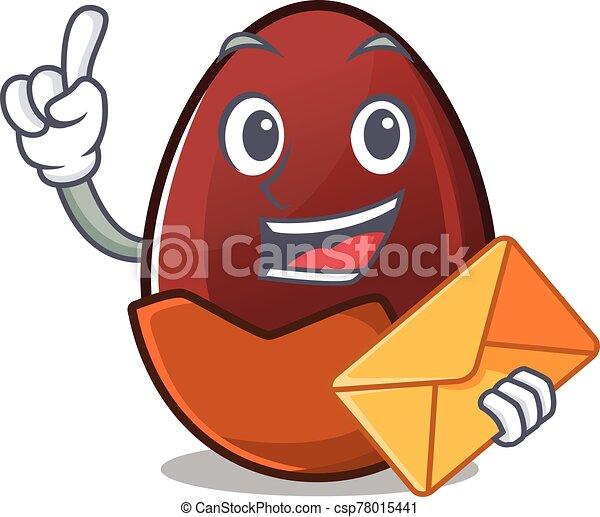 Happy face chocolate egg mascot design with envelope - csp78015441