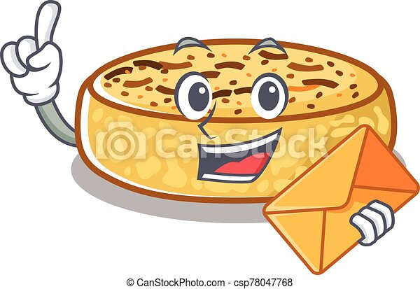 Happy face crumpets mascot design with envelope - csp78047768