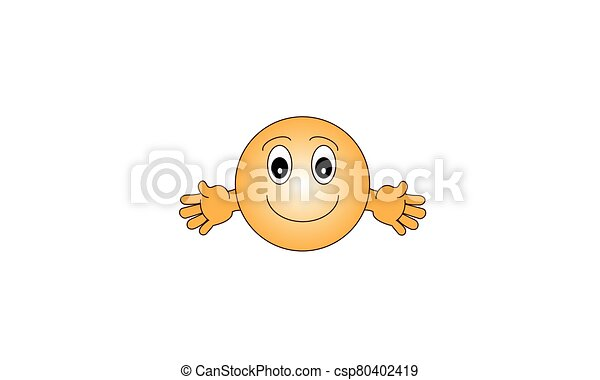 Happy Face. Flat emoticon Design - csp80402419