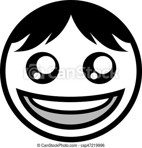happy face flat icon design - csp47219996