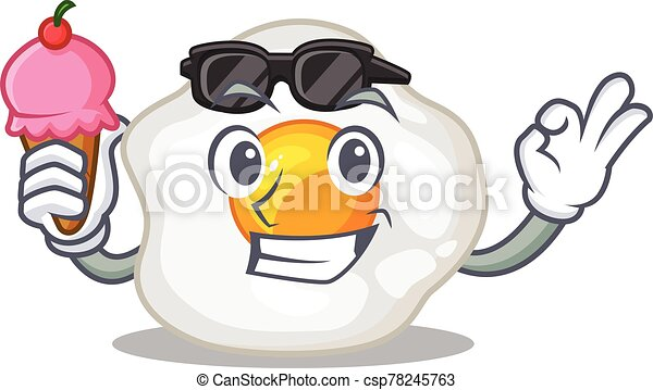 happy face fried egg cartoon design with ice cream - csp78245763