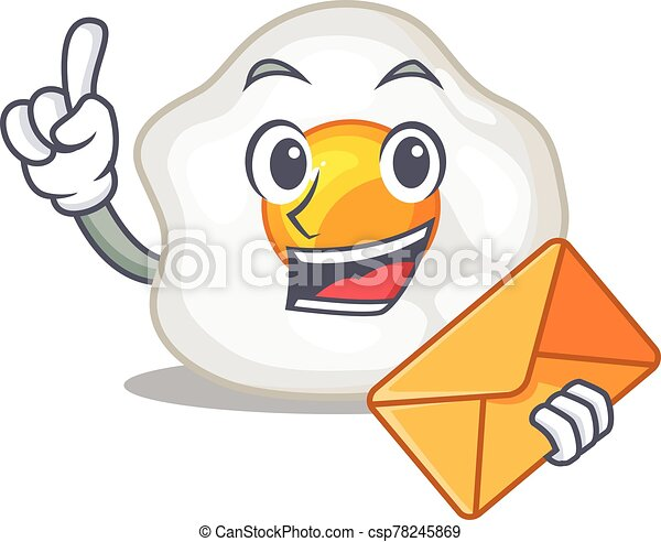 Happy face fried egg mascot design with envelope - csp78245869