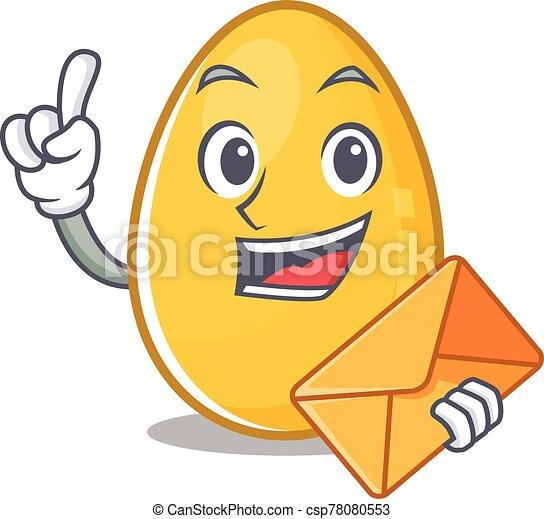Happy face golden egg mascot design with envelope - csp78080553