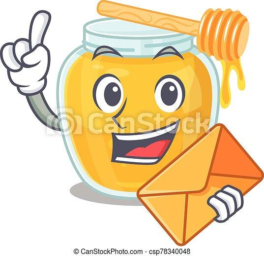 Happy face honey mascot design with envelope - csp78340048