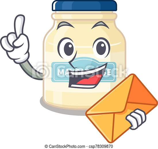 Happy face mayonnaise mascot design with envelope - csp78309870