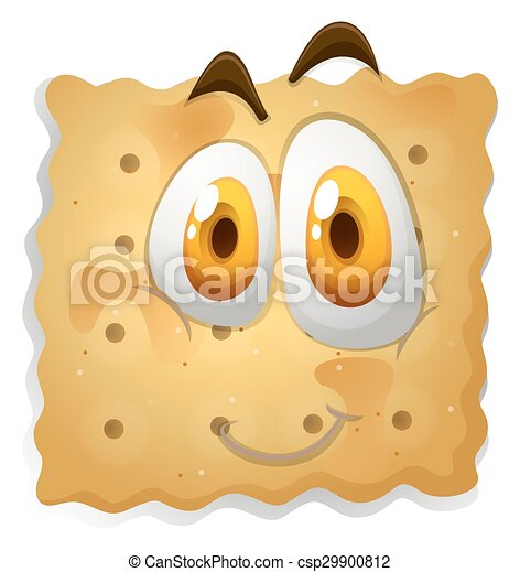 Happy face on biscuit - csp29900812