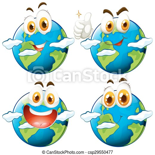 Happy face on earth - csp29550477
