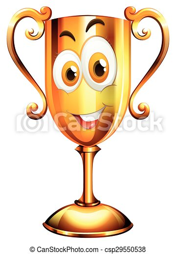 Happy face on trophy - csp29550538
