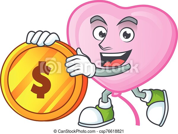 happy face pink love balloon cartoon character with gold coin - csp76618821