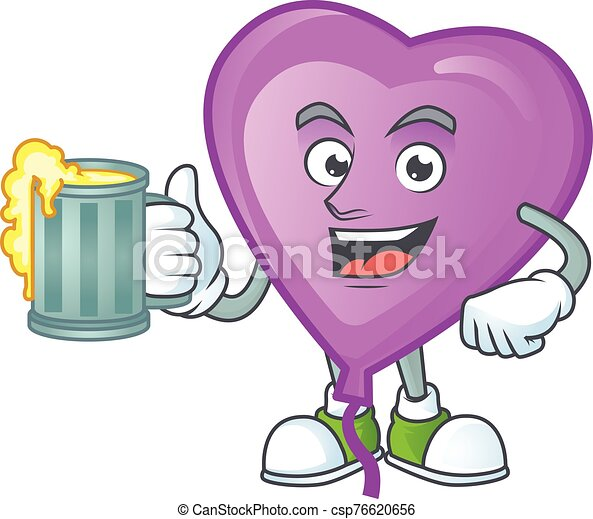 Happy face purple love balloon with a glass of beer - csp76620656