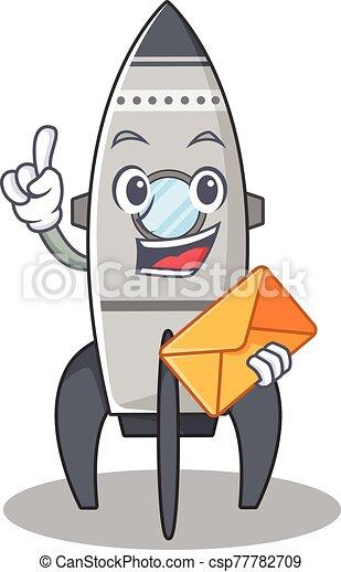 Happy face rocket mascot design with envelope - csp77782709