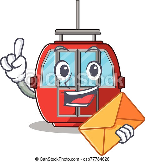 Happy face ropeway mascot design with envelope - csp77784626