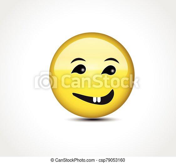 Happy face smiling emoticon button - csp79053160