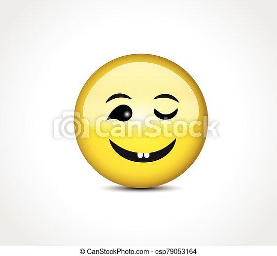 Happy face smiling emoticon button - csp79053164