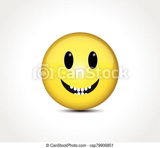 Happy face smiling emoticon button - csp79906851