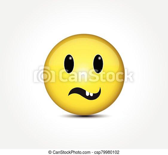 Happy face smiling emoticon button - csp79980102