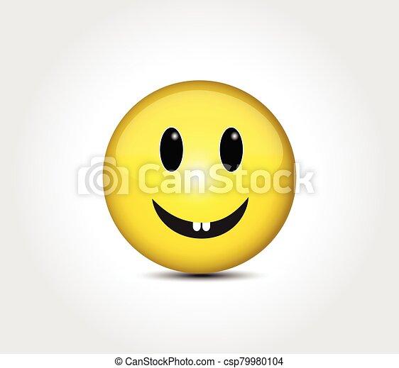 Happy face smiling emoticon button - csp79980104