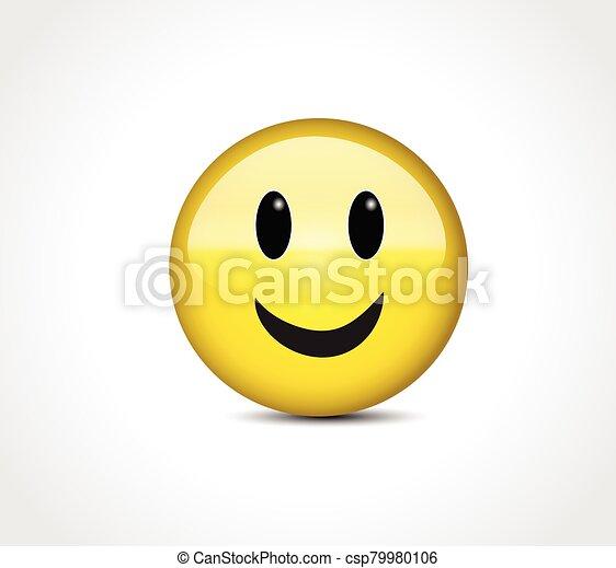 Happy face smiling emoticon button - csp79980106