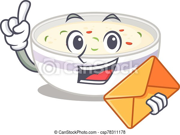 Happy face steamed egg mascot design with envelope - csp78311178