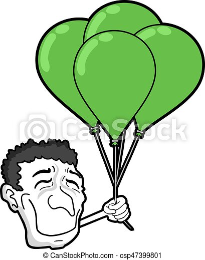 happy face wit green balloons - csp47399801