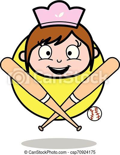 Happy Face with Baseball Bat - Retro Cartoon Waitress Female Chef Vector Illustration - csp70924175