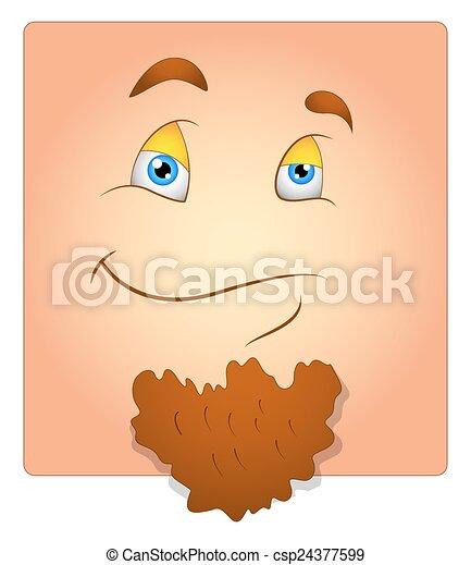 Happy Face with Beard Box Smiley - csp24377599