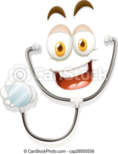Happy face with stethoscope - csp29550556