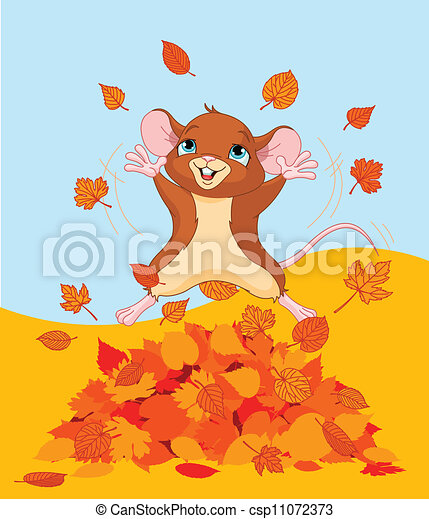 Happy fall mouse - csp11072373
