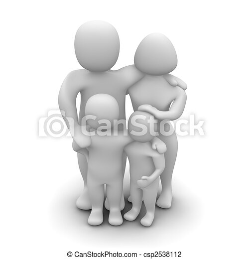 Happy family. 3d rendered illustration isolated on white. - csp2538112