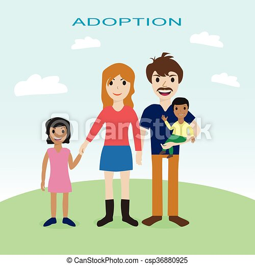 Happy family, adoption, love, mother, father, children - csp36880925