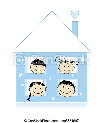 Happy family at own house smiling together, drawing sketch  - csp5864697
