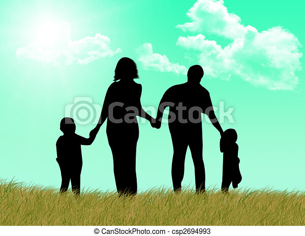Happy family at spring - csp2694993