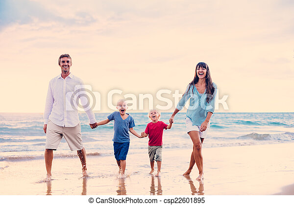 Happy Family at Sunset - csp22601895