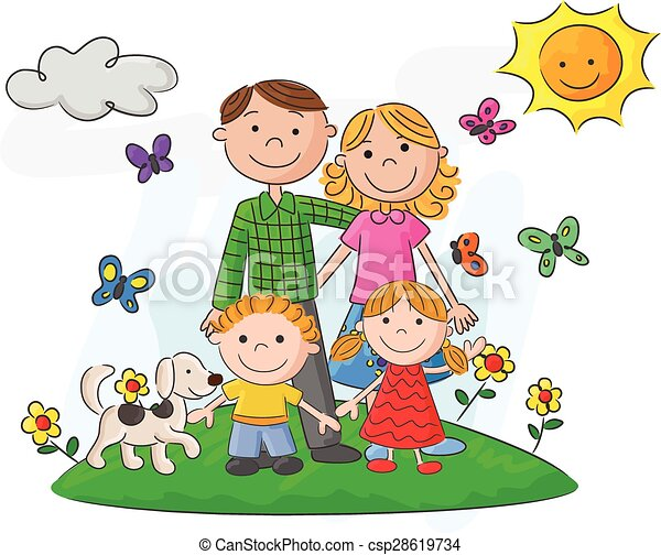 vector illustration of happy family cartoon against a