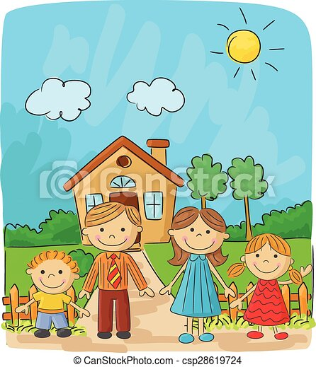 vector illustration of happy family cartoon against a vector rh canstockphoto com happy family cartoon movie happy family cartoon movie