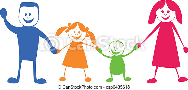 Happy family. Cartoon illustration - csp6435618