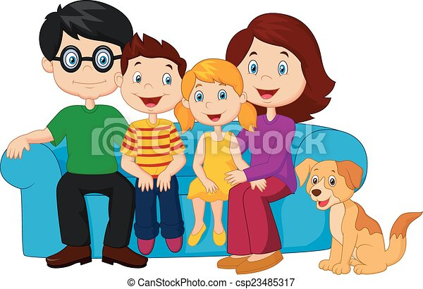 vector illustration of happy family cartoon sitting on sofa rh canstockphoto com happy family clipart black and white happy family picture clipart