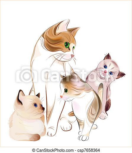 happy  family. Cat and  kittens. - csp7658364