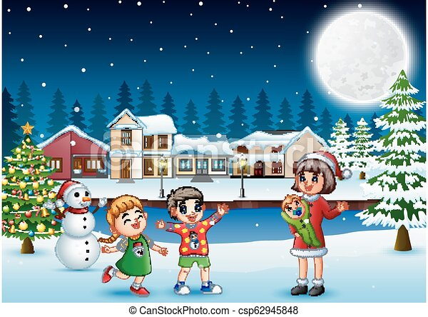 Christmas Day Drawing Images.Happy Family Celebration A Christmas Day Outdoors