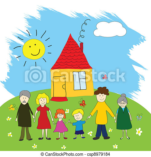 Happy family, child's drawing style - csp8979184