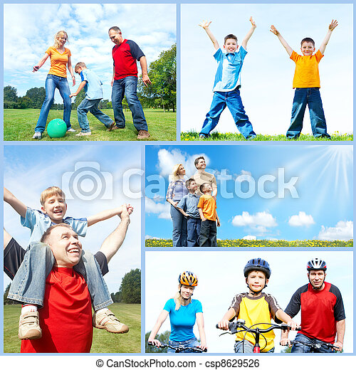Happy family collage. - csp8629526