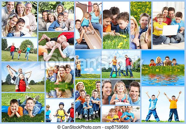 Happy family collage. - csp8759560