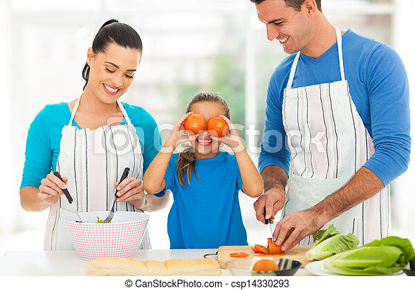 happy family cooking in kitchen - csp14330293