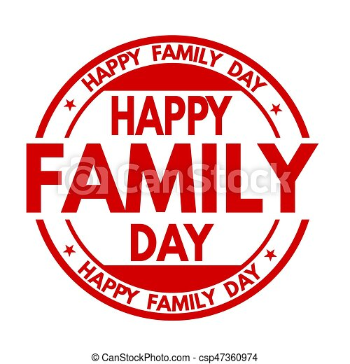 happy family day sign or stamp on white background vector illustration