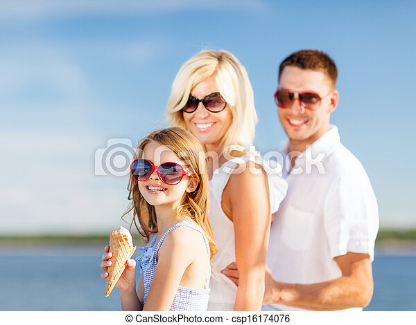 happy family eating ice cream - csp16174076