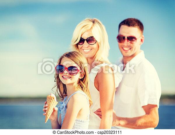 happy family eating ice cream - csp20323111