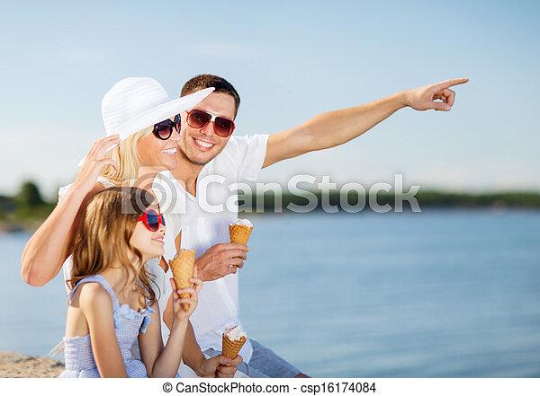 happy family eating ice cream - csp16174084