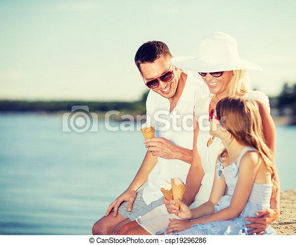 happy family eating ice cream - csp19296286