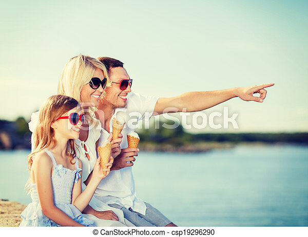 happy family eating ice cream - csp19296290