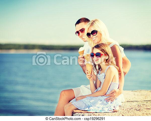 happy family eating ice cream - csp19296291